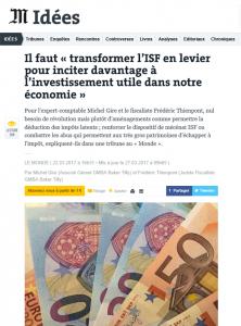 Tribune ISF Michel Gire et Frédéric Thienpont